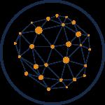 Ikon i Actionpoint Consulting färger. Illustrerar ett nätverk av sammankopplade noder