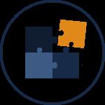 Ikon i Actionpoint Consulting färger. Illustrerar pusselbitar som faller på plats